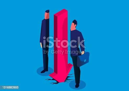 istock Financial crisis, market decline, falling arrows split the businessman in half 1316882653