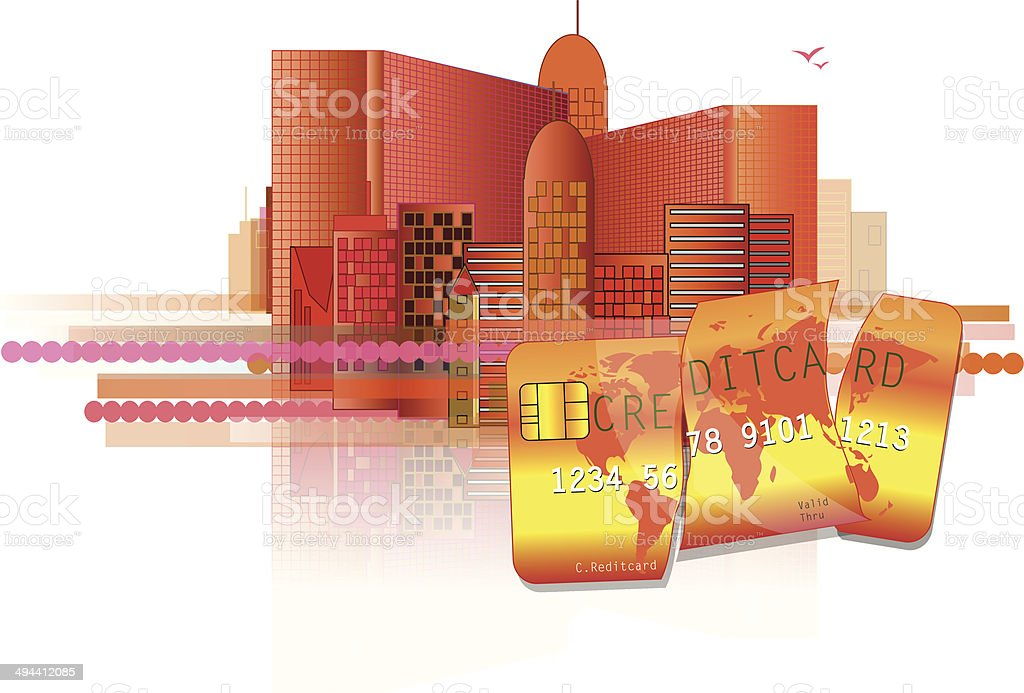 Financial crisis with red office and broken credit card royalty-free stock vector art