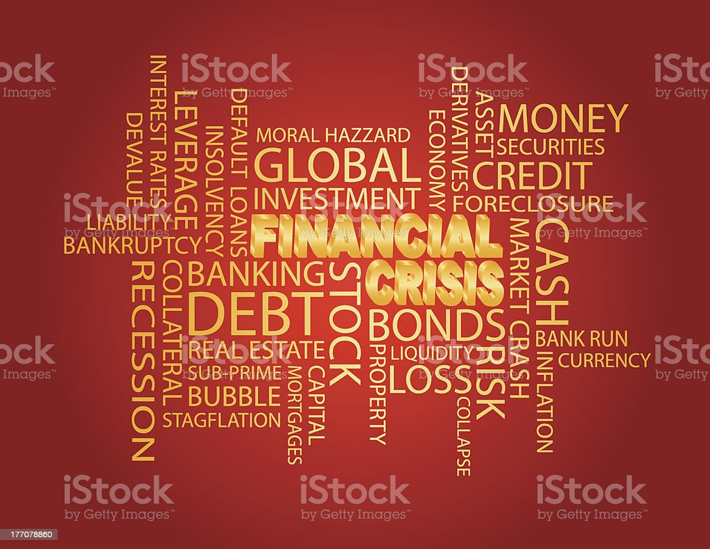 Financial Crisis Word Cloud Red Background royalty-free financial crisis word cloud red background stock vector art & more images of backgrounds