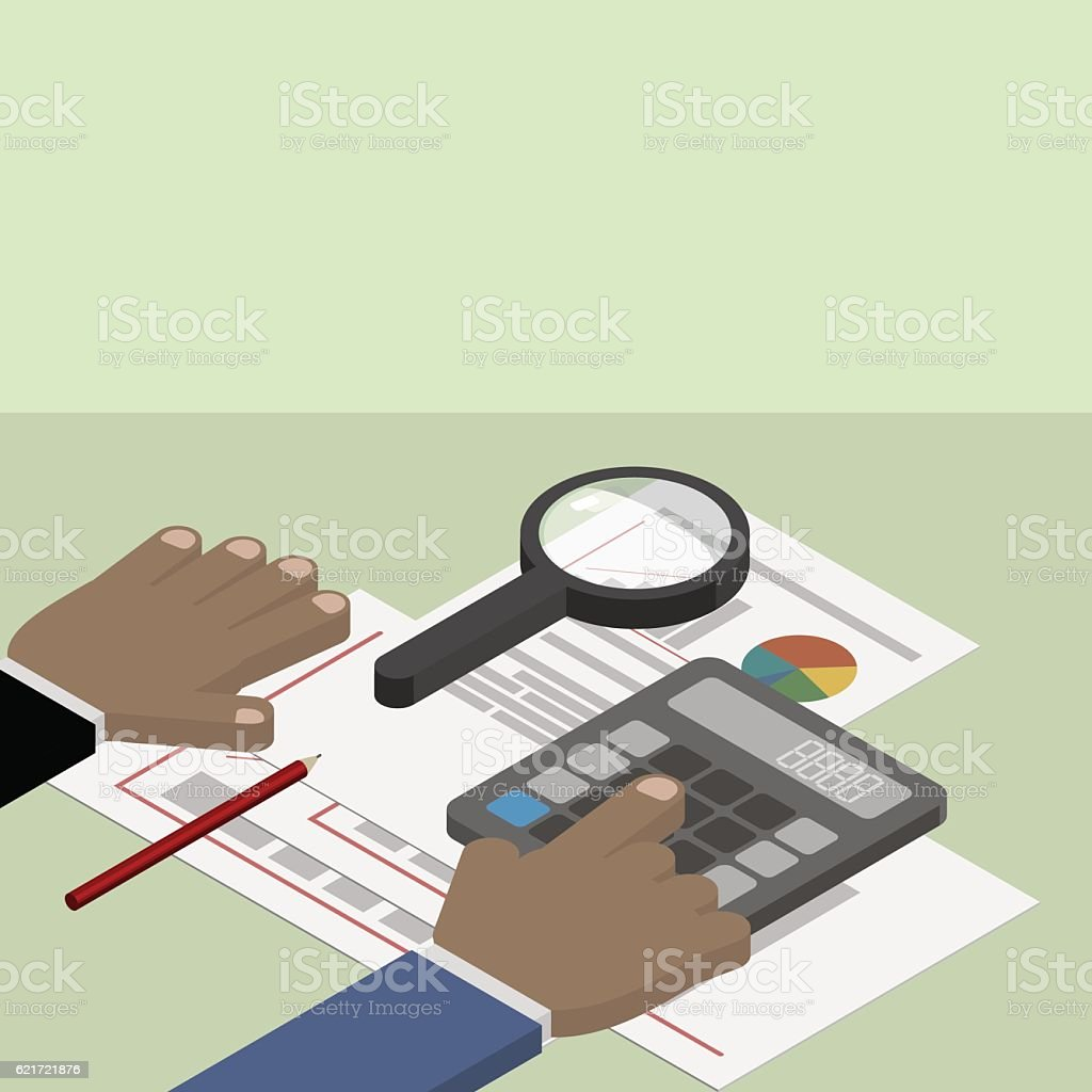 Financial Data Analysis. Businessman With Financial Reports. Royalty Free  Stock Vector Art
