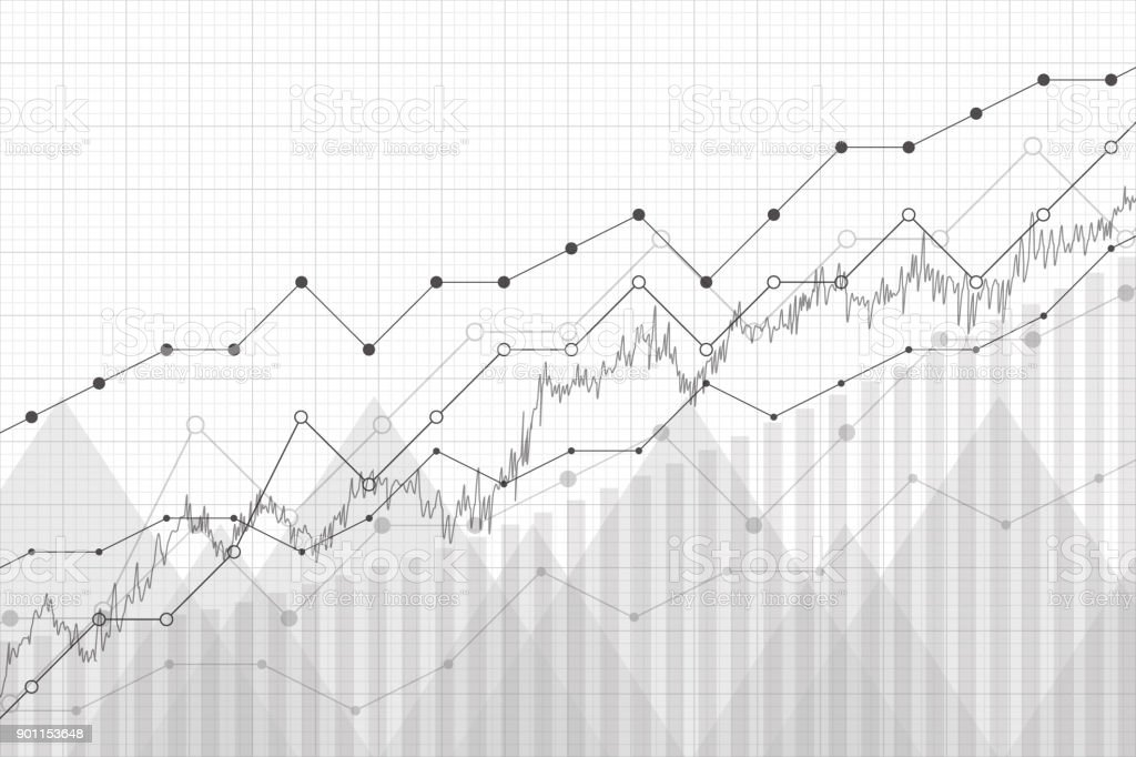 Financial data graph chart, vector illustration. Growth company profit economic concept. Trend lines, columns, market economy information background. royalty-free financial data graph chart vector illustration growth company profit economic concept trend lines columns market economy information background stock illustration - download image now