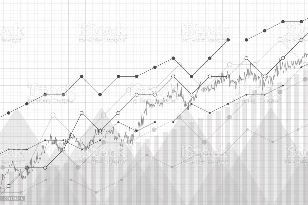 Données financières graphique graphique, illustration vectorielle. Concept économique de croissance de l'entreprise bénéficiaire. Lignes de tendance, colonnes, background information économie de marché. - Illustration vectorielle