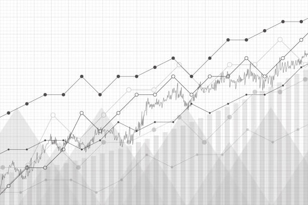 financial data graph chart, vector illustration. growth company profit economic concept. trend lines, columns, market economy information background. - dane giełdowe stock illustrations