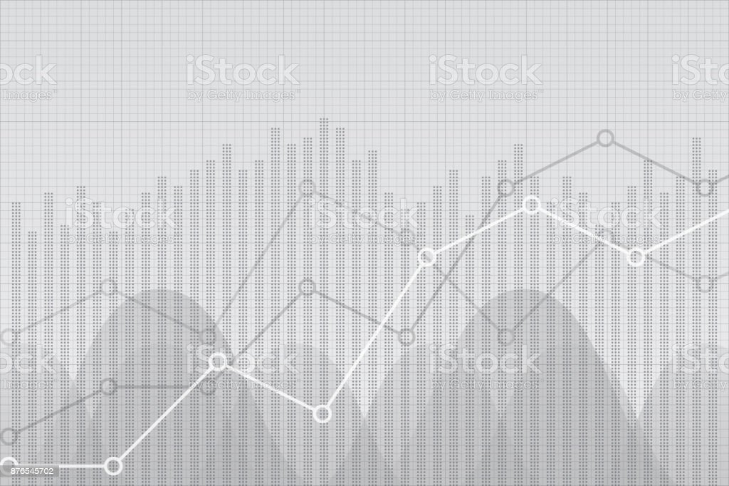 Financial data graph chart, vector illustration. Trend lines, columns, market economy information background. Growth company economic concept.