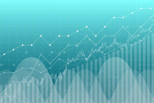 ilustrações, clipart, desenhos animados e ícones de gráfico gráfico de dados financeiros, ilustração vetorial. linhas de tendência, colunas, base de informações de economia de mercado. conceito econômico da análise gráfico. - economia