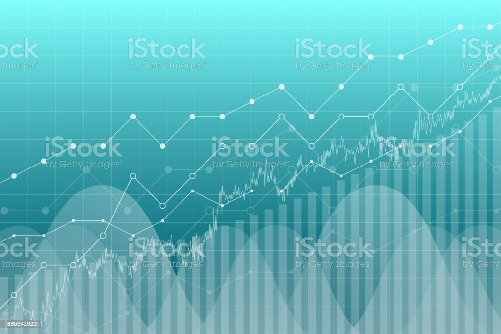 Financial data graph chart, vector illustration. Trend lines, columns, market economy information background. Chart analytics economic concept. vector art illustration