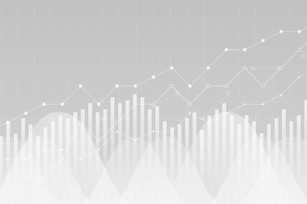 금융 데이터 그래프 차트, 벡터 일러스트 레이 션입니다. 트렌드 라인, 열, 시장 경제 정보 배경. 차트 분석 경제 개념입니다. - 측정 장치 stock illustrations
