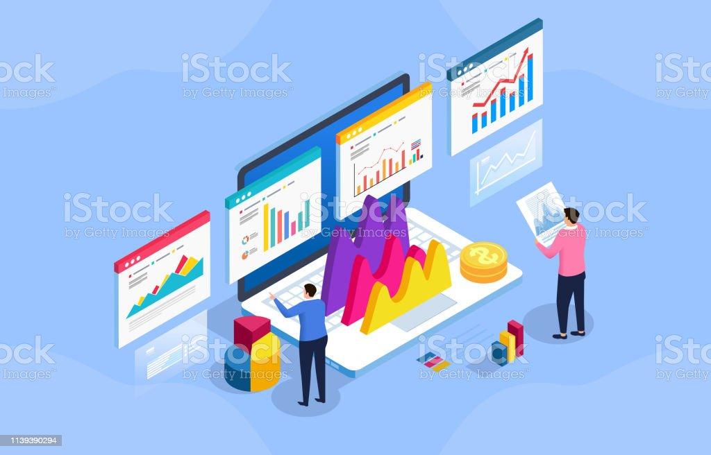 Finanzdatenmanagement und-analyse - Lizenzfrei Analysieren Vektorgrafik