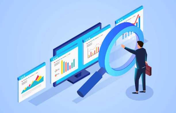 Financial data monitoring and analysis, businessman standing in front of magnifying glass and observing webpage data vector art illustration