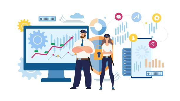 Financial Data Protection Flat Vector Concept Business Data Security, Online Trade Transactions Safety, E-Commerce Protected Mobile App Trendy Flat Vector Concept. Guards in Uniform Protecting Confidential Financial Information Illustration encryption stock illustrations