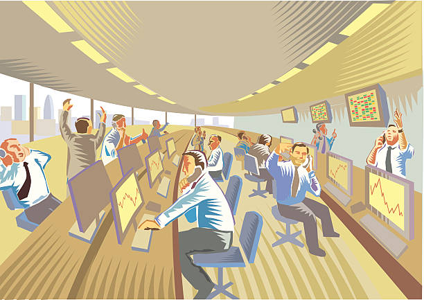 Financial dealing room Financial dealing activity in a busy office wall street stock illustrations