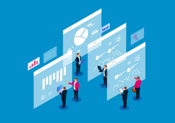 Finanzielle digitale Datenanalyse und strategische Planung – Vektorgrafik