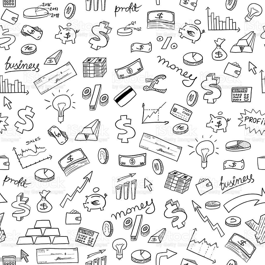 Financial doodle background vector art illustration