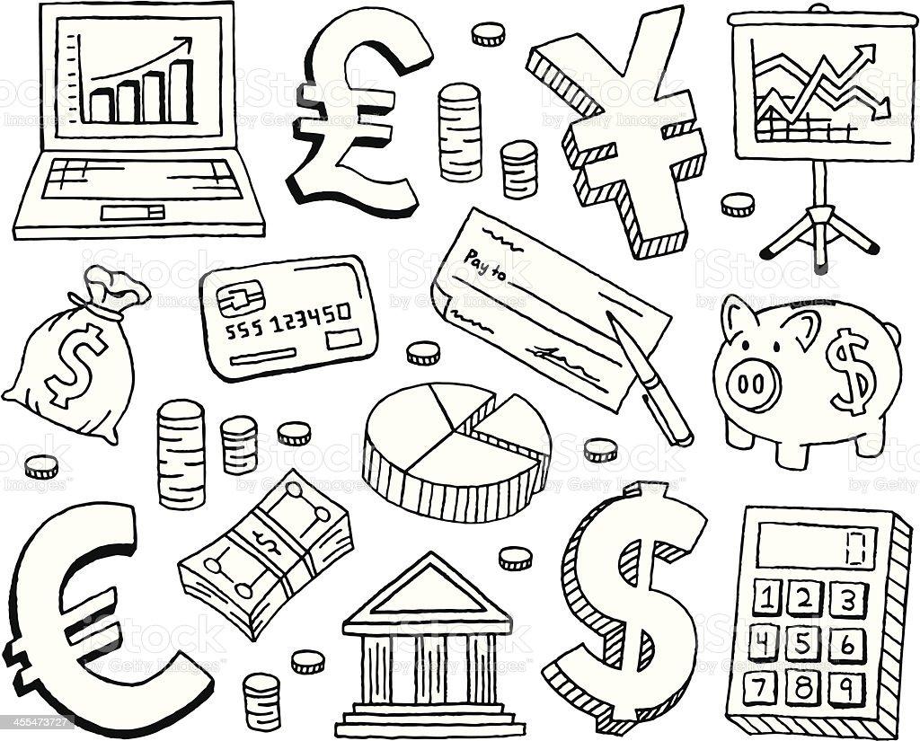 Financial Doodles vector art illustration
