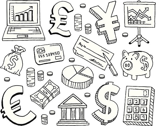 Financial Doodles A finance and accounting doodle page. banking drawings stock illustrations