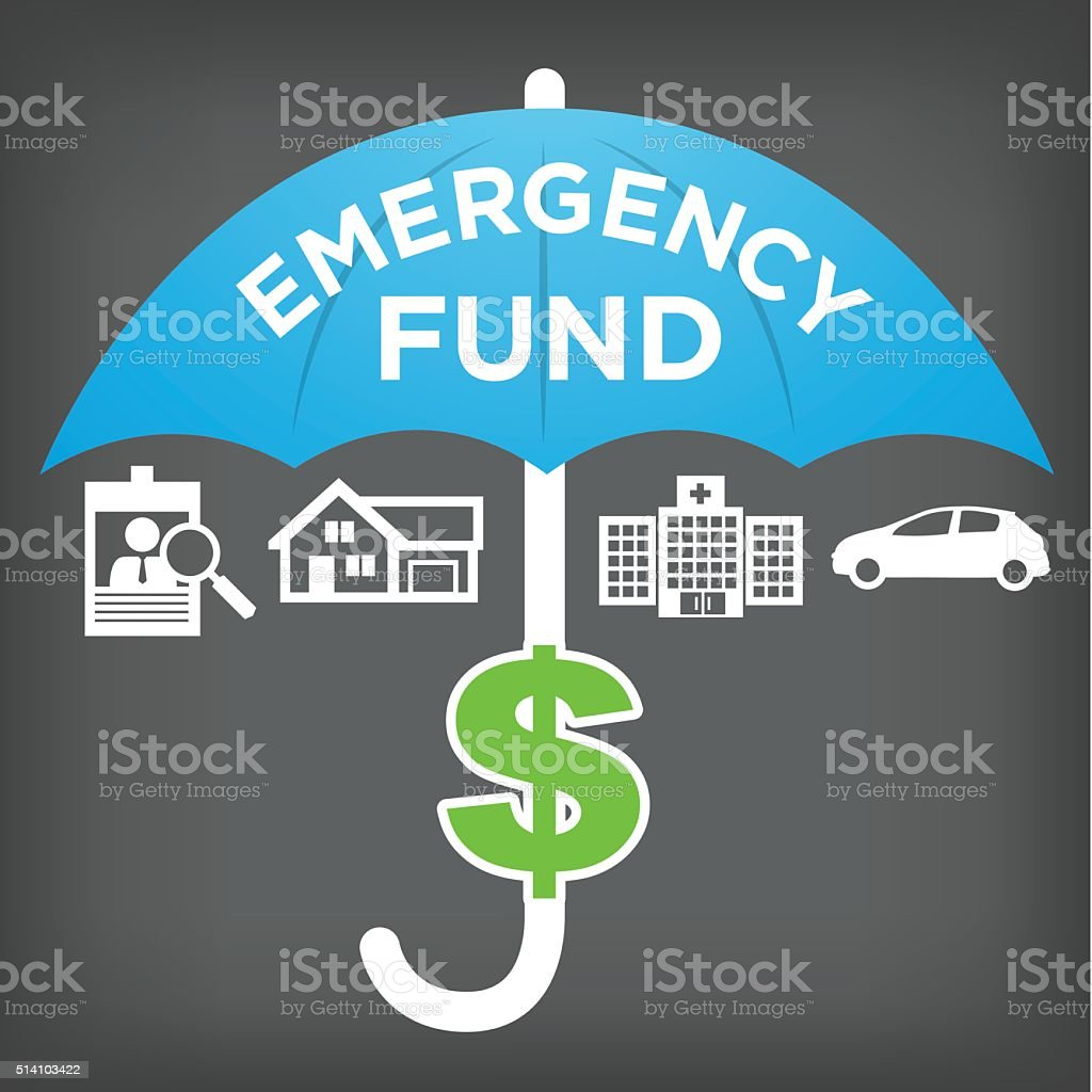 Financial Emergency Fund Icons with Umbrella vector art illustration