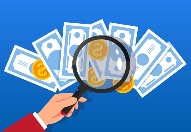 Financial finance and risk analysis vector art illustration