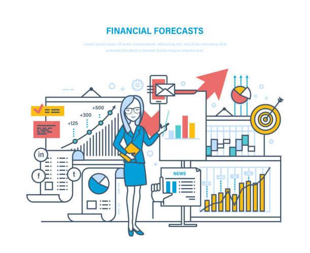 ilustraciones, imágenes clip art, dibujos animados e iconos de stock de previsiones financieras. estrategia de marketing. financiera, planificación, análisis, investigación de mercados, comercio electrónico - planificación financiera