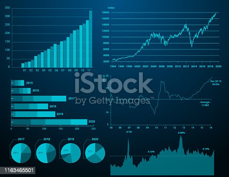 Vector of Financial graph with color background. EPS AI 10 file format