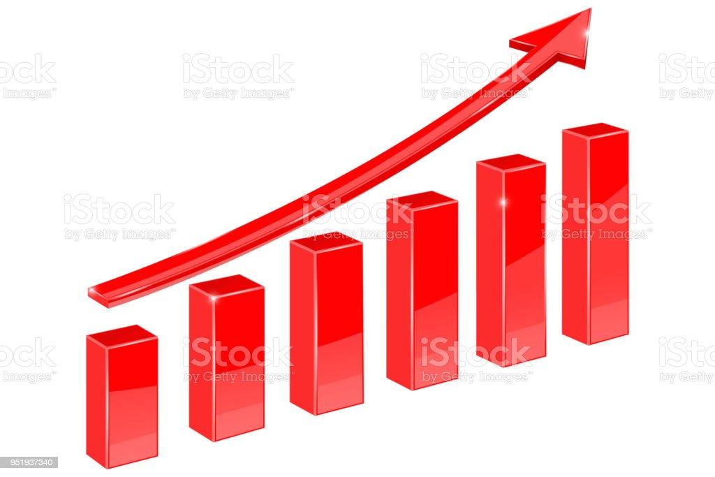 Finanzielle Graph. Roten steigenden Pfeil nach oben – Vektorgrafik