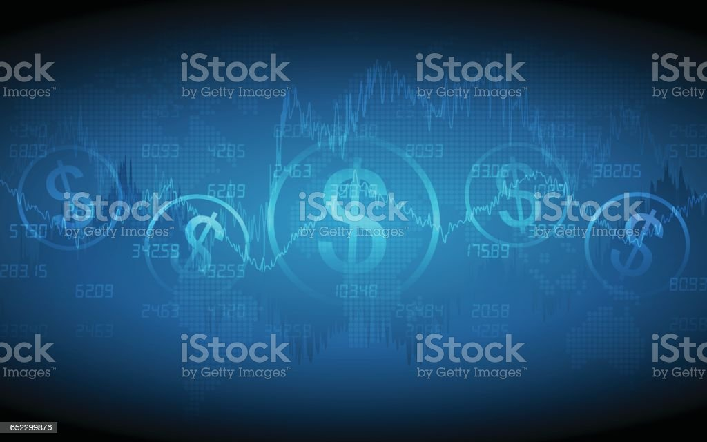 Financial graph with dollar sign and world map vector art illustration