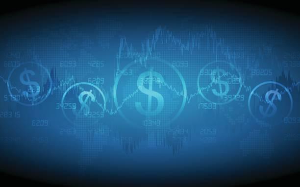 Financier graphique avec signe du dollar et de la carte du monde - Illustration vectorielle