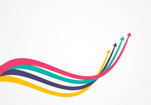 finanzielle wachstumspfeile mit bunten. vektor-illustration - heben stock-grafiken, -clipart, -cartoons und -symbole