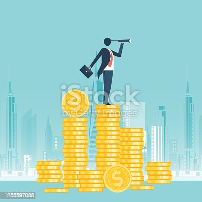 Financial growth concept with golden coin dollar. up or down income graph vector design. concept of monetary collection or strategy of profit or benefit making in business.