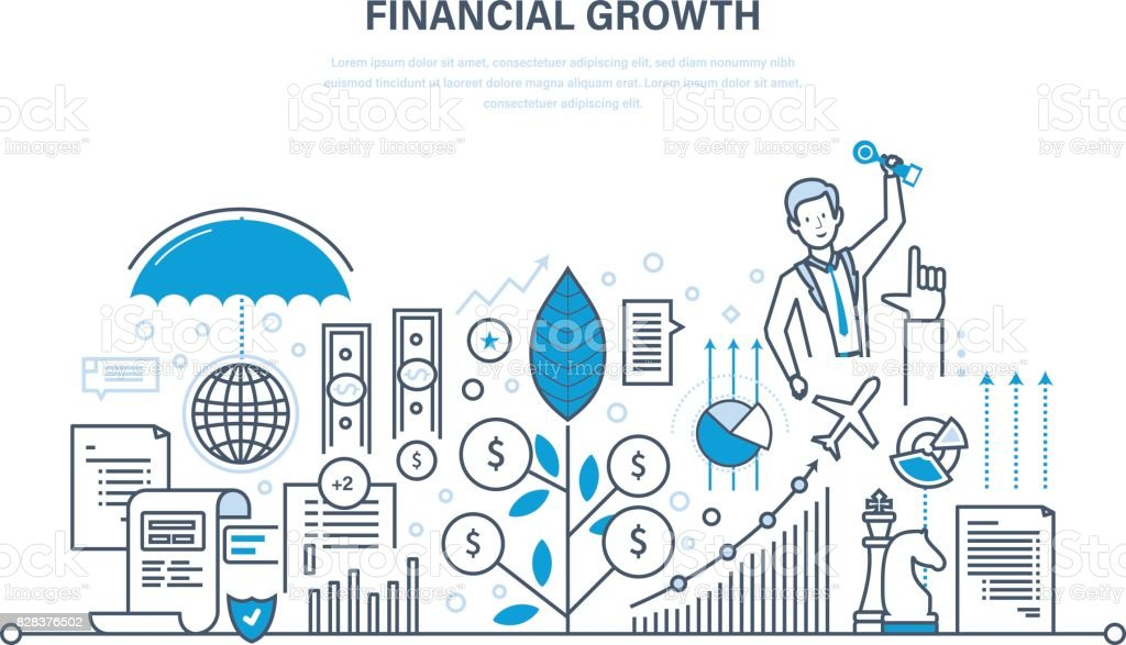 Financial growth, market research, deposits, contributions, savings, management, calculation vector art illustration