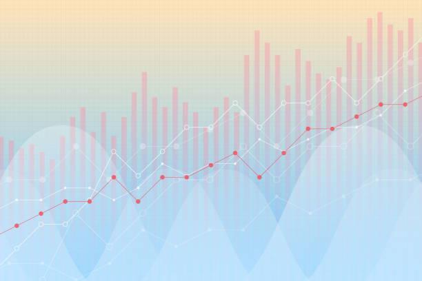 stockillustraties, clipart, cartoons en iconen met financiële groei, inkomsten grafiek, vectorillustratie. trendlijnen, kolommen, markt economie informatie achtergrond, felle kleuren, visuele diagram. grafiek analytics, strategie concept. - aandelen