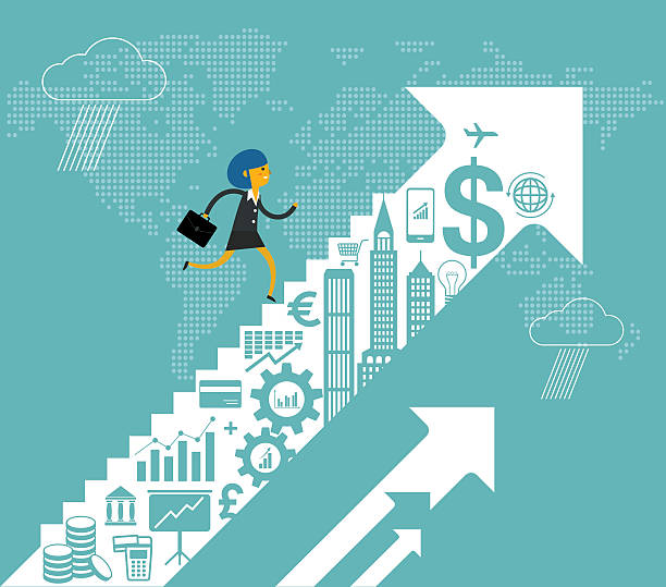 wzrost finansowego - stopnie do sukcesu stock illustrations