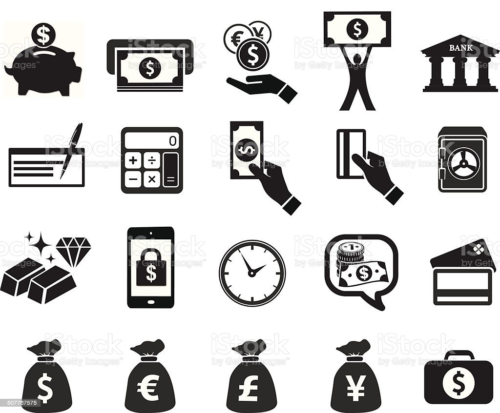 financial icon set vector art illustration