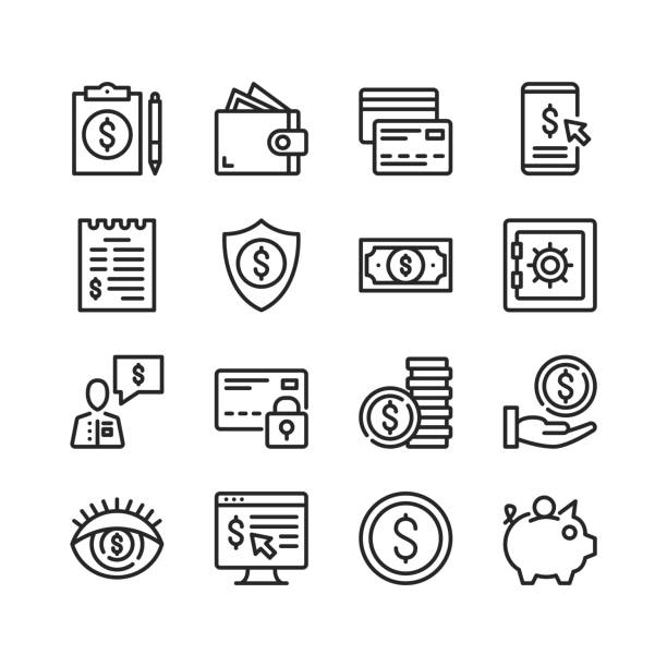 Financial icons set. Pixel perfect. Linear, outline symbols. Thin line design. Vector line icons set vector art illustration