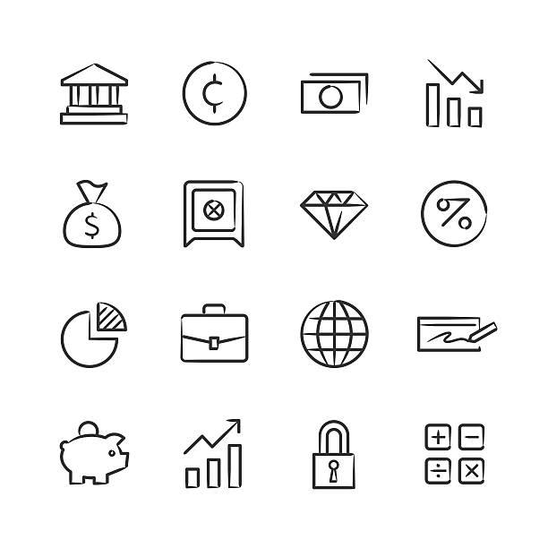 Financial Icons — Sketchy Series vector art illustration