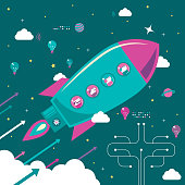 Infographic Characters Vector Art Illustration.\nFinancial infographic business teamwork concept,\nfour people on flying rocket (spaceship, space shuttle).\nMarketing strategy and investment management analysis and solution.