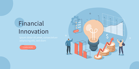 People Characters having new Finance Management Creative Ideas. They Standing near Light Bulb with Graphs, Charts and Diagrams. Financial Innovation Concept. Flat Isometric Vector Illustration.