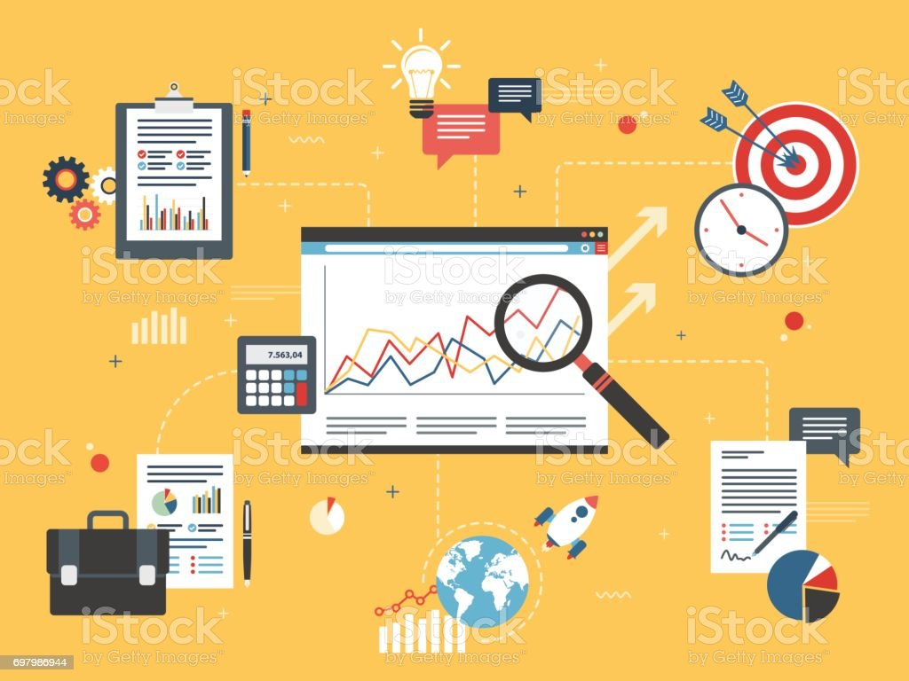 Financial investment, analytics with growth report. vector art illustration