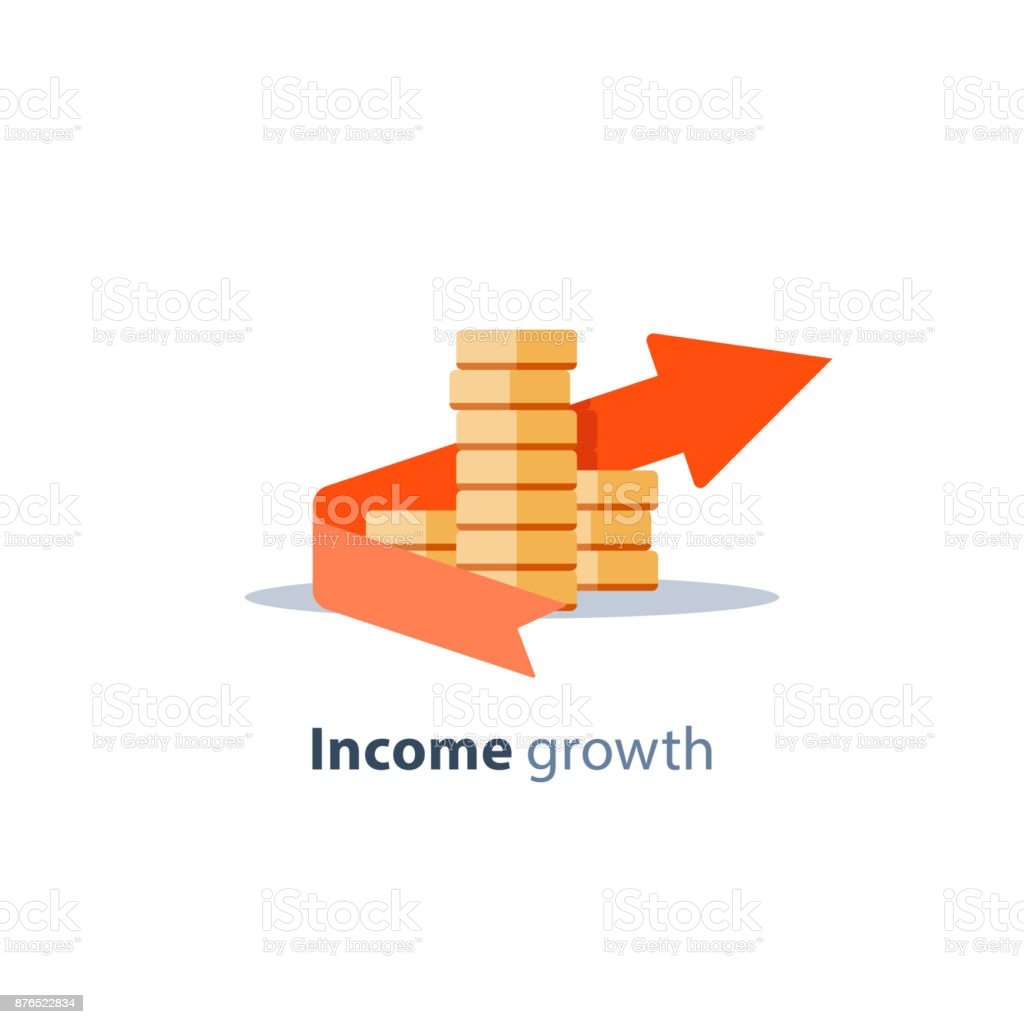 Moedas de investimento financeiro, pilha, serviços bancários, plano de orçamento, gestão financeira, crescimento da renda, conceito de restituição - ilustração de arte em vetor