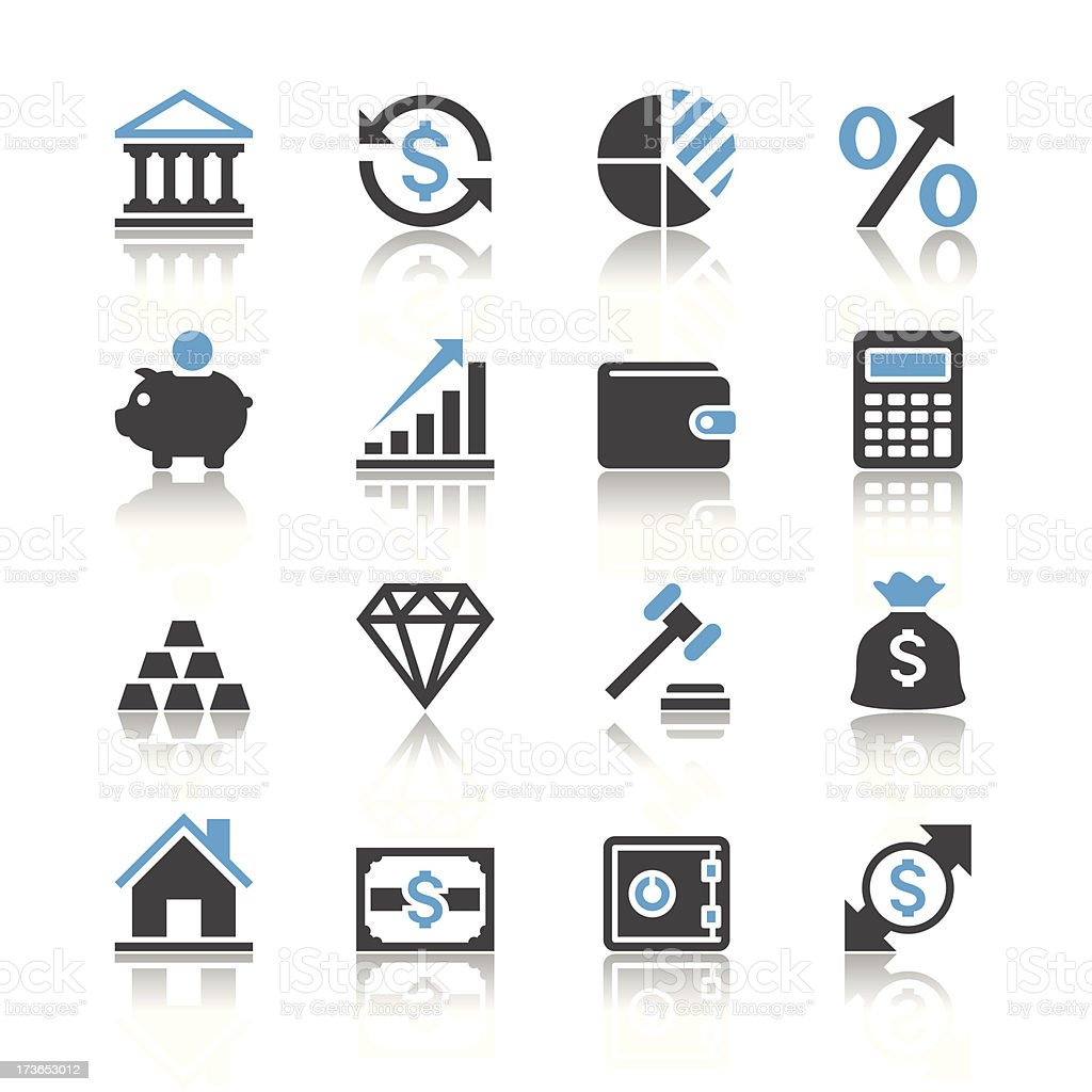 Financial investment icons - reflection theme vector art illustration