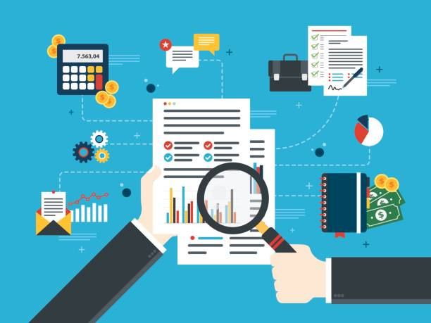Financial investment in business. Hand with magnifying glass, analysis of documents with charts. Calculations of rate, investment and tax. Concept of financial investment, analytics with growth report. Flat design vector illustration. financial report stock illustrations