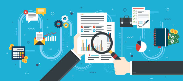 Financial investment in business. Hand with magnifying glass, analysis of documents with charts. Calculations of rate, investment and tax. Concept of financial investment, analytics with growth report. Flat design vector illustration. accountancy stock illustrations