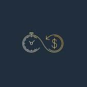 Time is money. Savings account, time is money, business and finances icon, retirement account, vector linear illustration