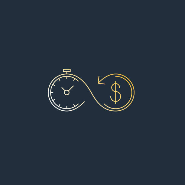 Financial investments concept, money insurance icon, pension fund Time is money. Savings account, time is money, business and finances icon, retirement account, vector linear illustration budget symbols stock illustrations