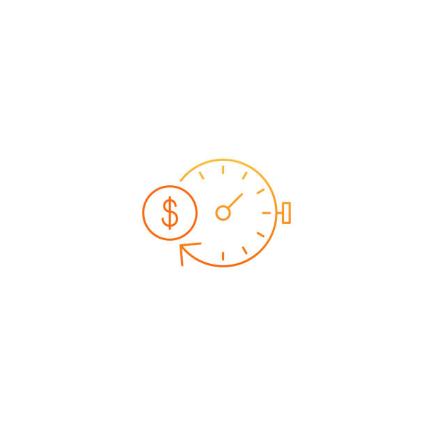 Financial investments concept, money insurance icon, pension fund Time is money. Savings account, time is money, business and finances icon, retirement account, vector linear illustration time is money stock illustrations