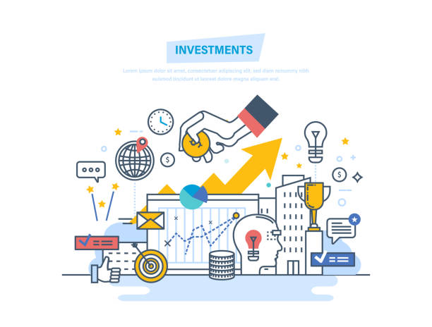 Finansal yatırımlar, pazarlama, finans, analiz, güvenlik mali tasarruf ve para vektör sanat illüstrasyonu