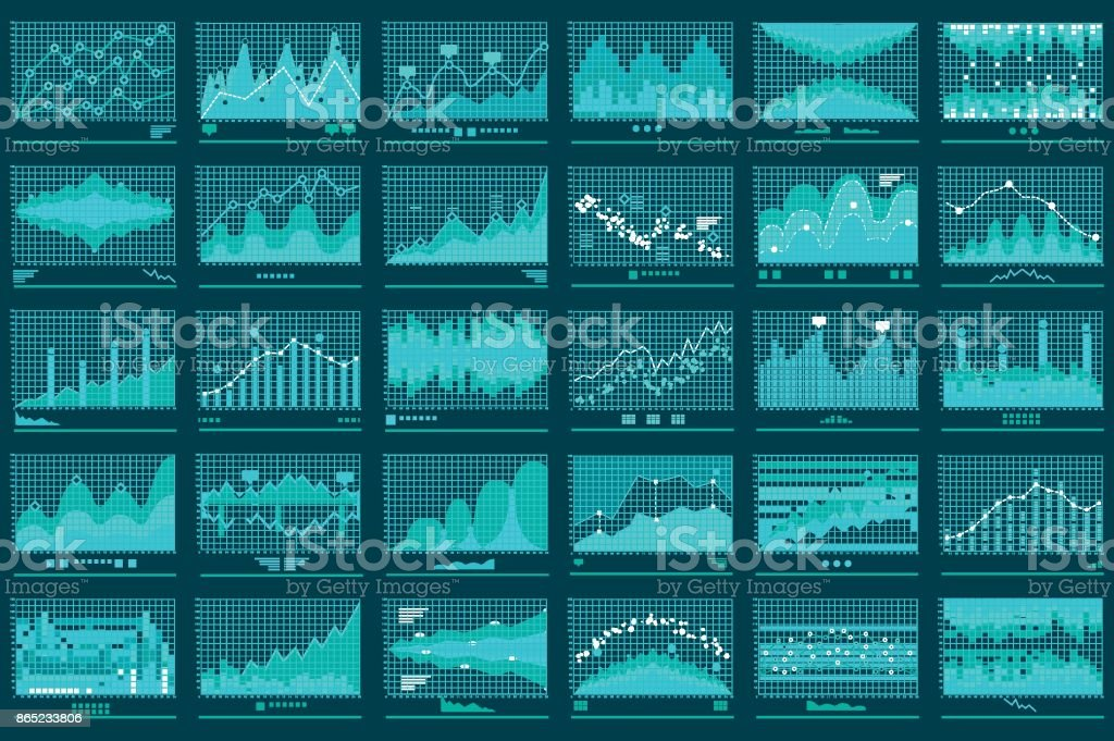 Financial Line Graphs Business Vector Banner vector art illustration
