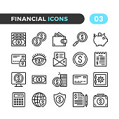 Financial line icons. Outline symbols collection. Modern stroke, linear elements. Premium quality. Pixel perfect. Vector thin line icons set