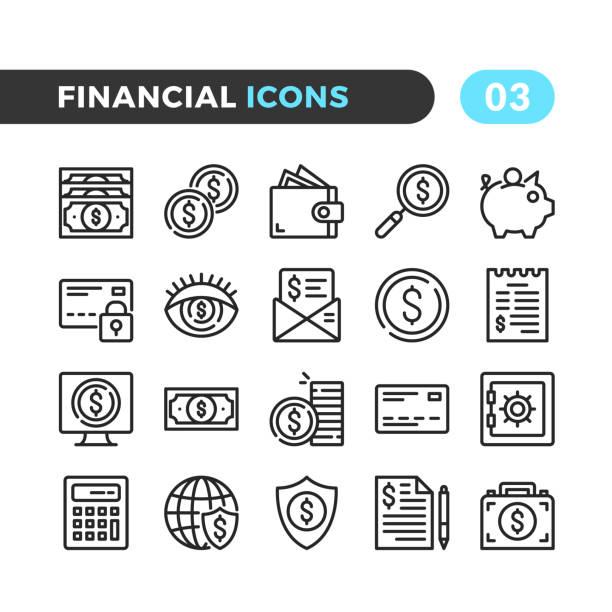 Financial line icons. Outline symbols collection. Modern stroke, linear elements. Premium quality. Pixel perfect. Vector thin line icons set vector art illustration