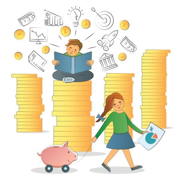 ilustraciones, imágenes clip art, dibujos animados e iconos de stock de concepto de alfabetización financiera. - regreso a clases