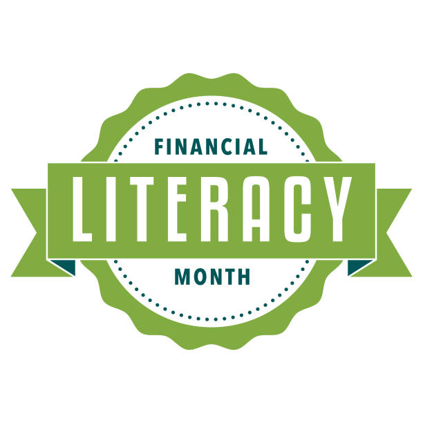 Financial Literacy Month Label An event label isolated on a transparent background. Color swatches are global for quick and easy color changes throughout the file. The color space is CMYK for optimal printing and can easily be converted to RGB for screen use. spelling stock illustrations